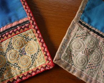 Hmong stitched textile - Vintage textile patches - 2 pieces