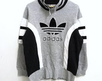 RARE!!!! Adidas Trefoil Big Logo Embroidery SpellOut Grey Colour Sweatshirts Hip Hop Swag M-L Size
