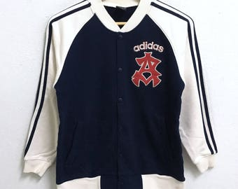 RARE!!! Adidas Equipment Small Logo Embroidery Button Down Varsity Sweaters Jackets Hip Hop Swag Boys Size