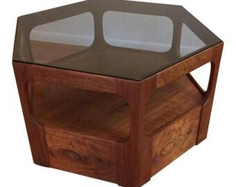 Hexigon Walnut And Glass Side Table By John Keal For Brown Saltman Furniture.  Scandinavian Design