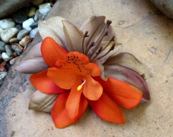 Tropical Orange Orchid, Taupe Lily silk flower hair clip
