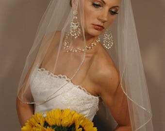 "25"" Single Tier Sparkly Wedding Veil"