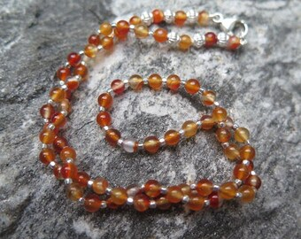 Fine Karnelian Necklace with 925 silver -Dragon Heart-
