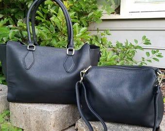 Monogram 2pc purse in black Personalized handbags- The Kelly