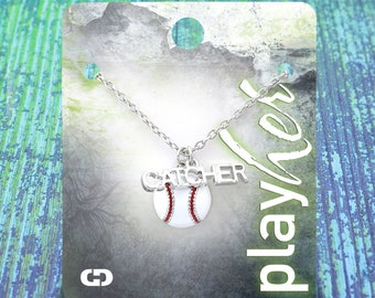 Customized Baseball Catcher Enamel Necklace - Personalize with Jersey Number, Heart Charm, or Letter Charm! Great Baseball Mom Gift!