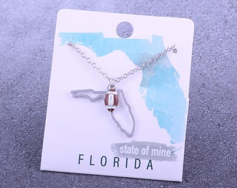 Customizable! State of Mine: Florida Football Enamel Necklace - Great Football Gift!