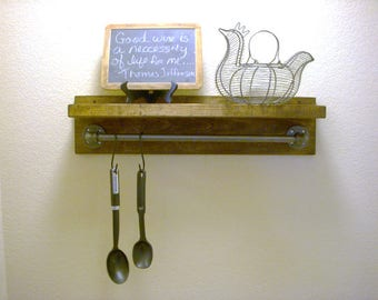 """Wall Mounted Industrial Provincial Stain Rustic Shelf - 24"""" Wide Wood Shelf and 18"""" Pipe Towel Bar"""
