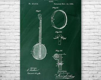 Banjo Poster Patent Print FREE SHIPPING, Banjo Wall Art, Banjo Patent, Banjo Player, Banjoist, Musician, Banjo Teacher