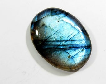 48Cts 100% Natural Labradorite AAA+ Quality Sky Blue Flash Oval Shape Labradorite Cabochon Loose Gemstone For Jewelry Making 34X25X6 mm
