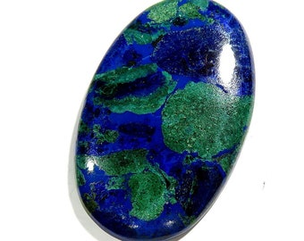 80Cts 47X30X6mm Azurite Malachite Loose Gemstone Cabochon Oval Shape Excellent!!! Azurite Stone - Azurite Cabochons Top Quality Natural Gems