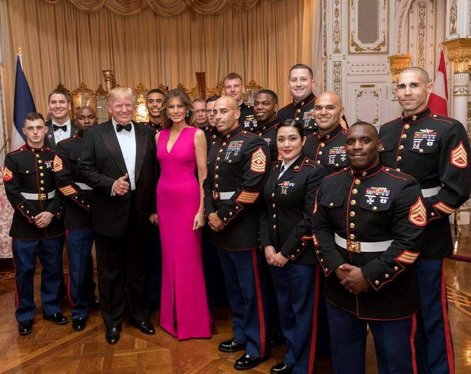 President Donald Trump and First Lady Melania Trump with Members of the Military in February, 2017 - 5X7, 8X10 or 11X14 Photo (AB-350)