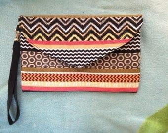 Ethnic print clutch bag