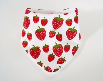 "bandana bib anti bavouille ""strawberries"" white"