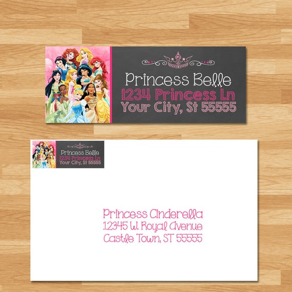 Disney Princess Return Address Labels - Custom Chalkboard - Princess Birthday Address Labels - Princess Birthday Party - Princess Printables