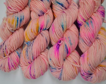 Aubs Worsted, hand dyed yarn, handdyed yarn, hand dyed worsted yarn, hand painted yarn, worsted yarn, worsted weight, A Shot Of Unicorn