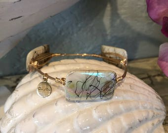 Rectangle pearl tone beads, wire wrapped bangle