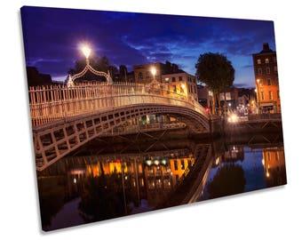 Dublin Ireland Ha'penny Bridge CANVAS WALL ART Framed Picture Print