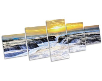 Seascape Yellow Sunset CANVAS WALL ART Five Panel Print Picture