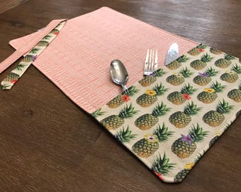 PINEAPPLE (PINEAPPLE) / placemat roll utenciles, portable place mat, for school, for work, placemat for lunchbox!