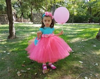 SAMPLE SALE size 18-24 months, 70%OFF, pink tutu dress+headband,crochet dress,toddler dress,flower girl dress, bridesmaid dress