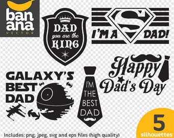 Father's Day silhouettes clipart png jpg svg eps files high resolution BV-CL-0279