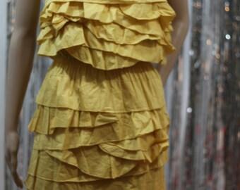 Vintage Ruffled Yellow Althea Sleeveless Dress (L)