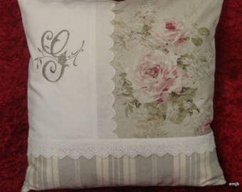 Embroidered, cushion roses antique and Monogram * G * embroidered on white canvas