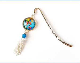 """Bookmark """"Butterfly"""" tone metal blue silver"""