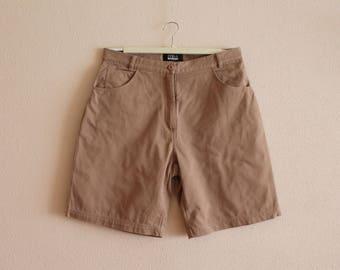 Brown Cotton Shorts Capri Summer Pants Cotton Trousers High Waist Cropped Pants