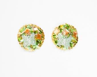 Green and Orange Sequin pasties, Orange Sequin Burlesque Pasties, Orange Nipple Covers, Green Pasties, Green Butterfly Burlesque