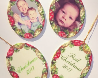 Ceramic Photo Christmas Ornament With Your Photo - 2 Sided. Christmas Border.