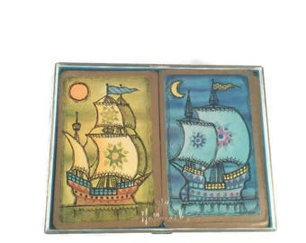 Cards, Vintage Bridge Hallmark Set Playing Cards Ships Daytime Ship and Nighttime Ship in original Box 2 decks Plastic coated