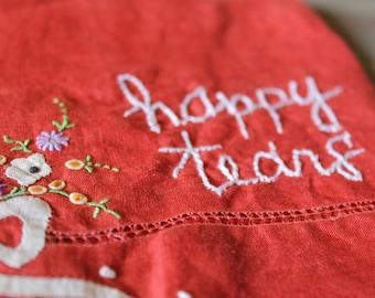 """Vintage Embroidered Hankie - """"happy tears"""""""