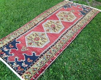 Turkish Rug, Hallway Rug, Kilim Rug, Vintage Rug, Runner Rug, Handmade Rug, Anatolian Rug, Decorative Rug//287 cm x 104 cm = 9,3 ft x 3,4 ft