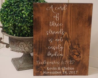 Wedding cord sign. A cord of three strands wood sign. Wedding decor. A cord of three strands wood sign. Rustic cord of strand of three cords