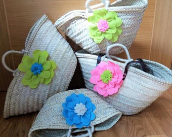Basket or carrycot from Beach decorated with flowers, traditional crafts
