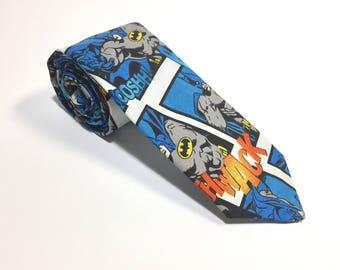 Batman Tie, Neck Tie, Blue tie, Mens Necktie, Batman Pattern, menswear accessory, Cotton necktie, Suit Accessory, mens Neckties