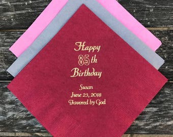 Happy Birthday Party Beverage Napkins, Personalized Napkins, Birthday Party Decor
