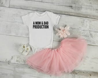 A Mom And Dad Production Bodysuit / Baby Shower Gift / Funny Bodysuits / Take Home Outfit