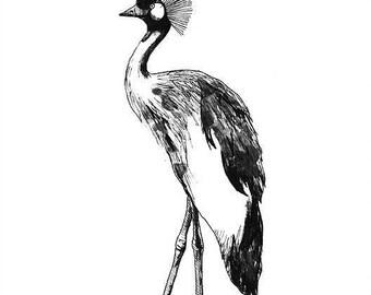 Crane print - mounted