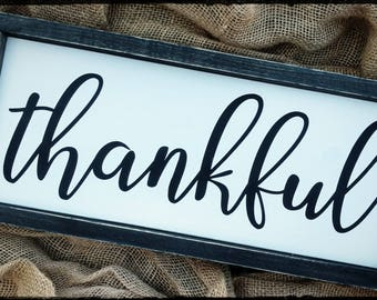 Thankful sign, hand painted wood sign, Wood Sign, Thanksgiving sign, Home Decor, Farmhouse Style Sign, Thankful