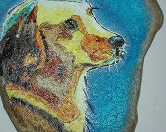 Painted dog on stone