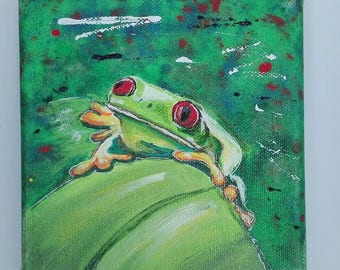 Frog 1 on 15 x 15 canvas hand painted