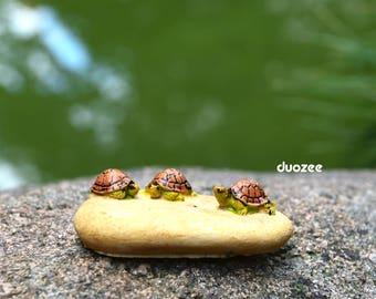 Miniature Enchanted Fairy Garden House Turtle Figurine, Three Turtles on Rock, Turtle Figure, Terrarium