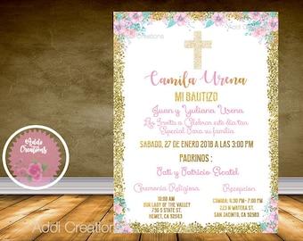Bautizo Invitations, Mi Bautizo, Spanish Bautizo, Invitaciones Bautizo