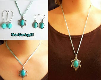 Turquoise Turtle Necklace + free earrings