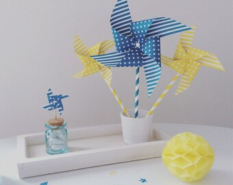 Windmill turquoise gift wooden PIC, sweets...