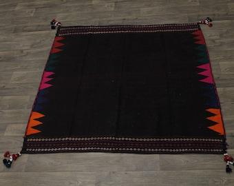 Tribal Hand Woven Flat Weave Kilim Sumak Persian Area Rug Oriental Carpet 5X5