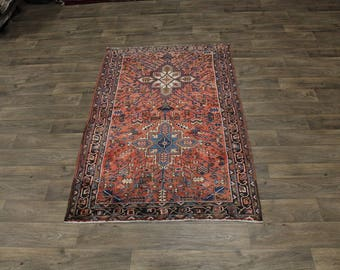 Amazing Rare Semi Antique Handmade Heriz Persian Area Rug Oriental Carpet 4X7