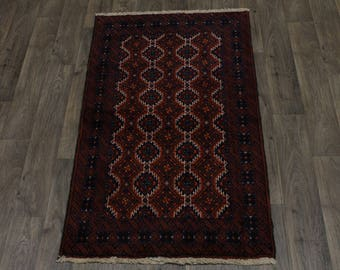 Great Shape Hand Knotted Tribal Balouch Persian Rug Oriental Area Carpet 3'2X5'5